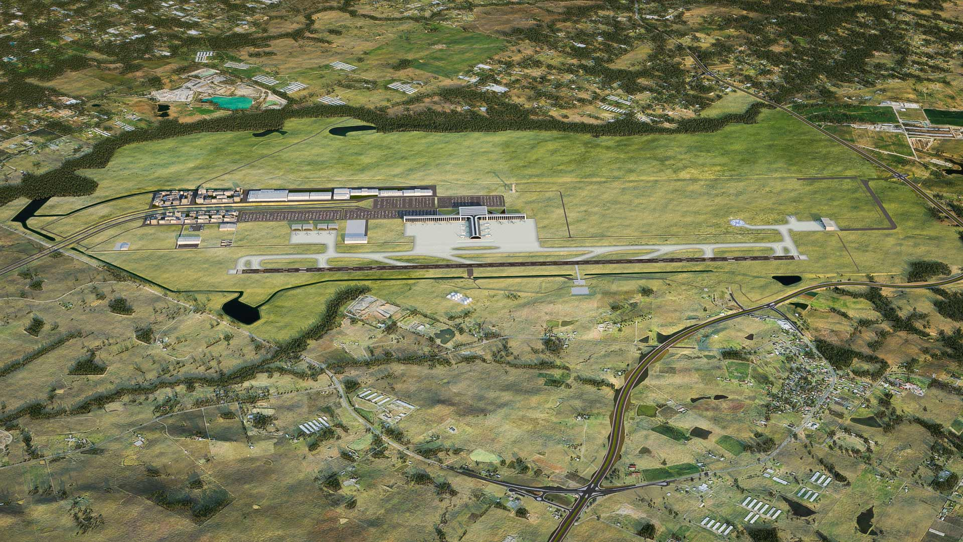 3D artist's impression rendering of Stage 1 of the Western Sydney airport