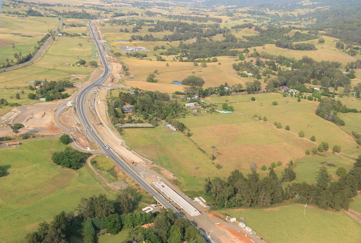 Aerial view of Princes Highway Upgrade works