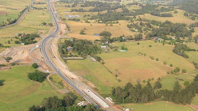 Aerial view of Princes Highway Upgrade works